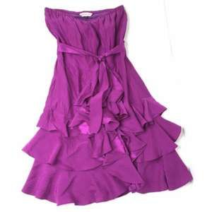 Rebecca Taylor CHA CHA Silk Ruffle Strapless Dress